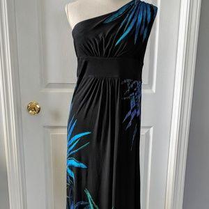 Black Floral One-Shoulder Maxi Dress Size 10